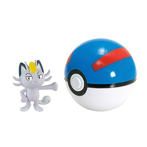 Lively Moments Pokemon Chiffres / Figurines à Collectionner Im Pokeball Alola Offensive avec Le Alola Mauzi / Alolan Meowth avec Super Ball