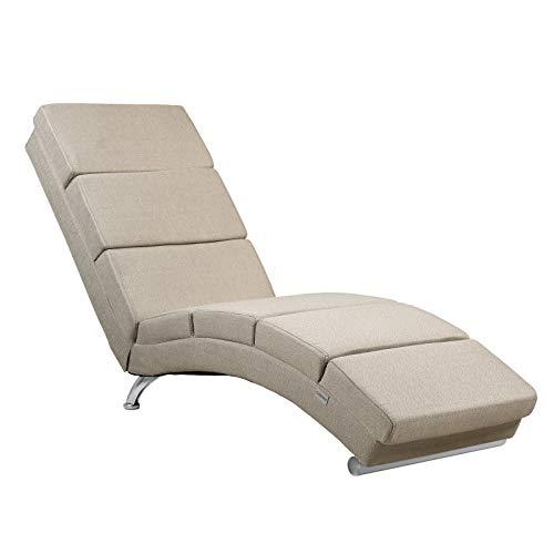 Casaria Relaxliege Liegesessel London Wohnzimmer Leinen Optik Sand Ergonomisch 186x55cm Modern Relaxsessel Liegestuhl