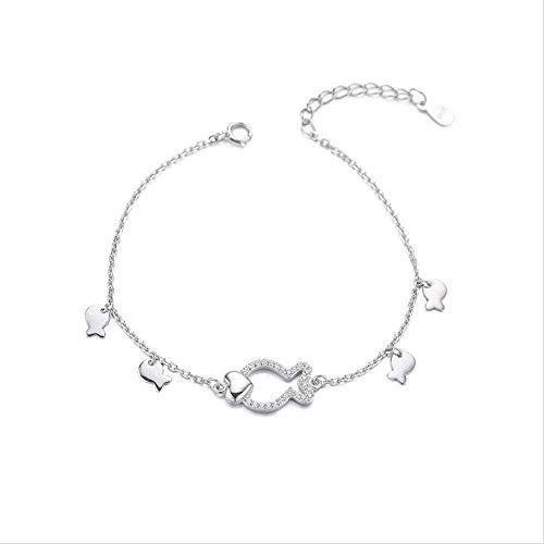 ZGYFJCH Co.,ltd Collar Mujer Collar Collar Moda Personalidad Departamento Conjunto Diamante geométrico Lindo pequeño pez en Forma de corazón Pulsera de Estudiante Dulce Amor Pulsera Regalo