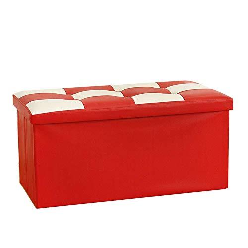 Barkruk, voetenbankje, bamboe, werkkruk van leer, groot, voor thuis, voor schoenenbank (kleur: rood, maat: 38 x 38 x 76 cm) T