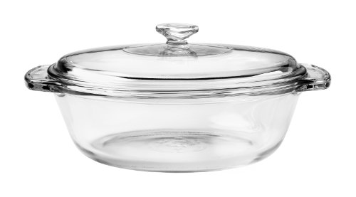 Anchor Hocking 77890 Fire-King Casserole Baking Dish with Lid, Glass, 1.5-Quart