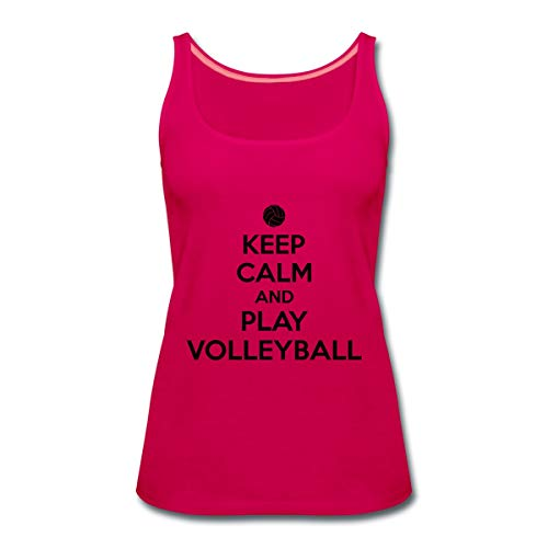Keep Calm Play Volleyball Frauen Premium Tank Top, S, Dunkles Pink