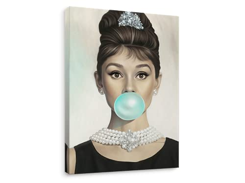 Niwo ART - Audrey Hepburn Tiffany Blue Bubble Gum, Celebrity Canvas Wall Art Home Decor, Gallery Wrapped, Stretched, Framed Ready to Hang (16'x12'x3/4')