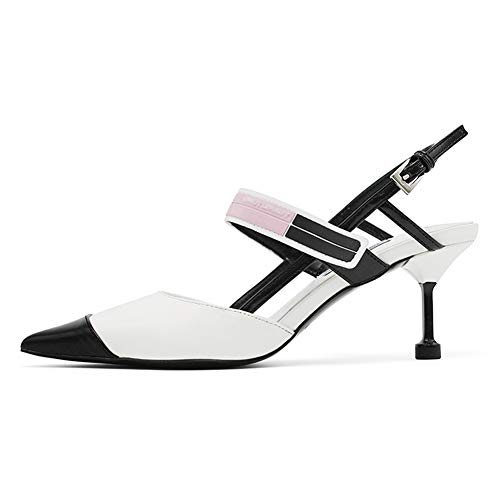QqHAO Coincidencia de Colores de Primavera Zapatos Puntiagudos de tacón Alto Mujeres de Las Sandalias de Las Mujeres del Verano del Gato del talón de concordancia de Color Zapatos de Mujer,Blanco,39