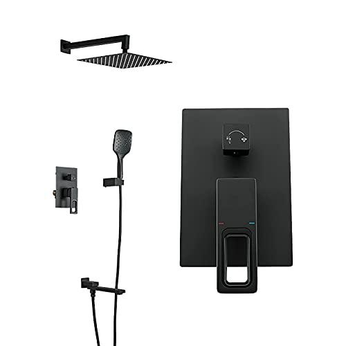 Sistema de ducha Sistema de cabezal de ducha de lluvia cuadrado de 10 'con juego combinado de mano, juego de grifo de ducha montado en la pared completo con válvula de latón y grifo de bañera girator