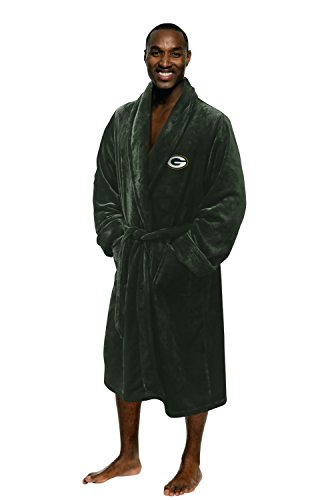 Officially Licensed NFL Green Bay Packers Men's Silk Touch Lounge Robe, One Size, Green