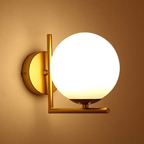Mengjay Lámparas de Pared E27,1 Pcs Moderno Dormitorio Iluminación de Interior Lámparas Apliques para Baño Cuarto Vanidad, Acrílico Sala Pasillos Escaleras Luz (Bombilla LED no incluida) (Dorado)