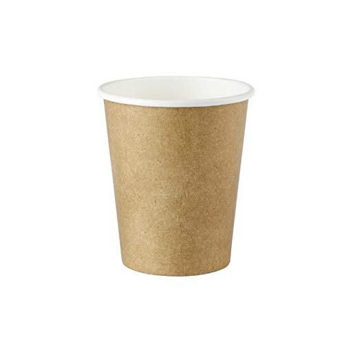 Bionatic Spain Vaso de cartón Kraft Biodegradable y ecológico de 200ml. Bebidas frías y Calientes.50uds