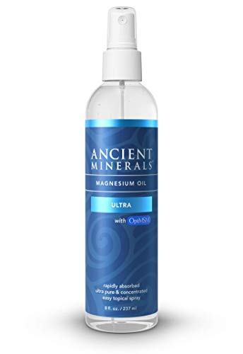 Ancient Minerals Magnesium Oil Spray Ultra with MSM - a Pure Zechstein Topical Magnesium Chloride Supplement with The Added Benefits of OptiMSM (8oz)