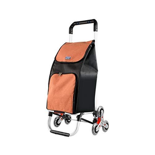 Einkaufstrolleys Haushalts tragbare Einkaufswagen, Aluminiumlegierung Klappwagen, multifunktionale Gepäckwagen auf Rädern, tragbare ältere Wagen (Color : A)