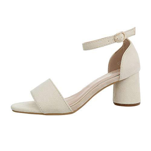 Ital-Design Damenschuhe Sandalen & Sandaletten High Heel Sandaletten Synthetik Beige Gr. 39