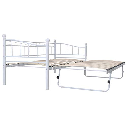 vidaXL Bettgestell Metallbett Bett Tagesbett Gästebett Schlafzimmerbett Bettrahmen Einzelbett Doppelbett Weiß Stahl 180x200/90x200cm