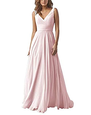 Yilis Double V-Neck Ruched Bodice Chiffon Bridesmaid Dress A-line Long Formal Gowns Size6 Pink
