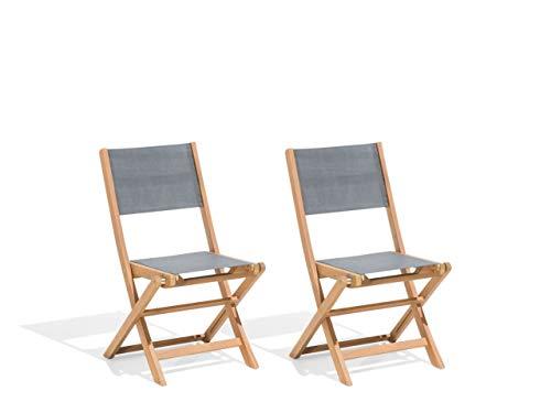 Praktisches Gartenstuhlset 2er Set Akazienholz Textilbespannung Cesana