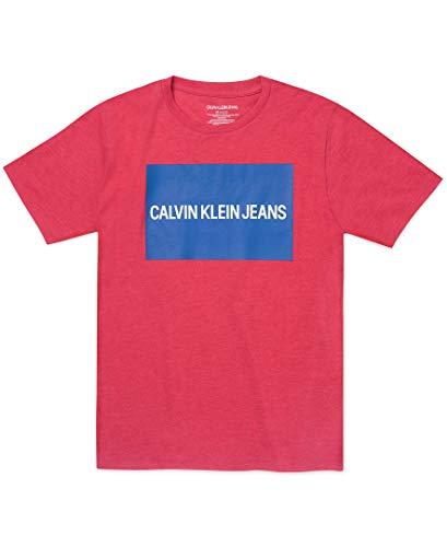 Calvin Klein – Playera de Cuello Redondo con Logotipo de la institución para niño Grande, Rojo (Red…