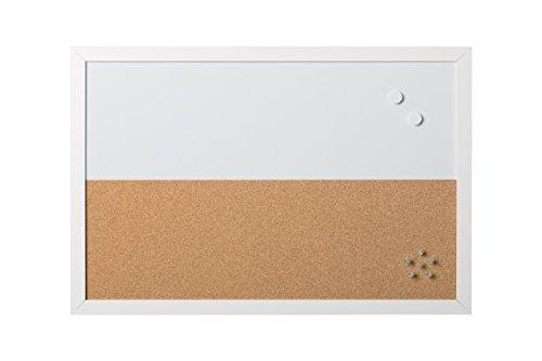 Bi-Office - Combo Pizarra Blanca y Tablón de Anuncios Elements, Magnético, Borrado en Seco/ Corcho, Marco MDF Blanco, 60x40cm