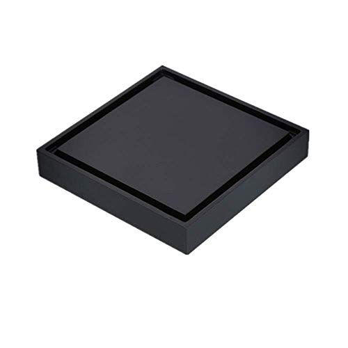 HXCD Bodenablauf IMulti-Bodenablauf Quadratische Duschwanne Abfluss Deodorant mit großer Verdrängung für Küche Waschraum Garage und Keller Feste Duschköpfe (Farbe: Schwarz, Größe: 10 x 10 x 4,8 c