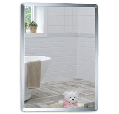 Miroir mural de salle de bain simple élégant rectangulaire 60 cm x 45 cm - Motif uni avec filet - Fixation Murale