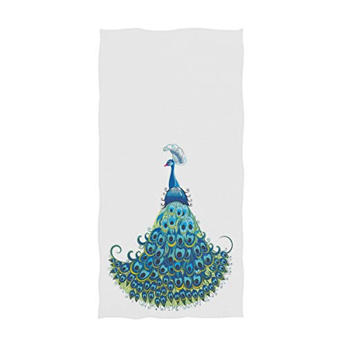 ZzWwR Chic Beautiful Curvy Peacock Print Soft Highly Absorbent Guest Large Home Decorative Hand Towels Multipurpose for Bathroom, Hotel, Gym and Spa (16 x 30 Inches,White)