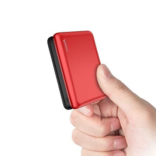 Vancely Powerbank 10000mAh Caricabatterie Portatile,Ultra-Compact Mini Batteria Esterna Carica Veloce Batteria Portatile con 2 USB Porte per iPhone, Samsung, Huawei, Xiaomi e Altri Smartphone (Rosso)