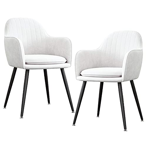 HYRGLIZI Velvet Upholstered Dining Chair Set of 2 Mid-Back Accent Chair Modern Leisure Armchair with Metal Plating Legs Living Room Side Chair (Color : White, Size : Black Legs)