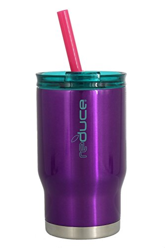 Reduce Tumbler, 14oz – Reduce Coldee 14 oz Stainless Steel Tumbler With Lid and Straw – Ideal for Toddlers/Kids, Includes 3-in-1 Lid and Straw – Portable, Fits Car Cup Holders – Purple/Teal