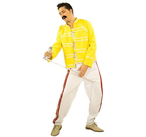 Limit Disfraz de Hombre Cantante de Rock Estrella Freddie Blanco Amarillo Carnaval Disfraz ídolo del Rock (M)