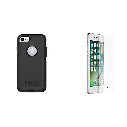 OtterBox COMMUTER SERIES Case for iPhone 8 & iPhone 7 (NOT Plus) - Retail Packaging - BLACK & ALPHA GLASS SERIES Screen Protector for iPhone 6/6s/7/8 (NOT Plus) - Retail Packaging - CLEAR