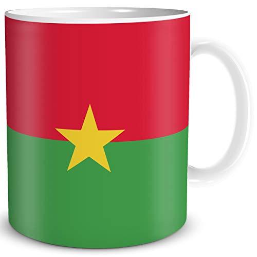 TRIOSK Tasse Flagge Burkina Faso Länder Flaggen Geschenk Westafrika Souvenir für Reiselustige Frauen Männer Arbeit Büro Weltenbummler