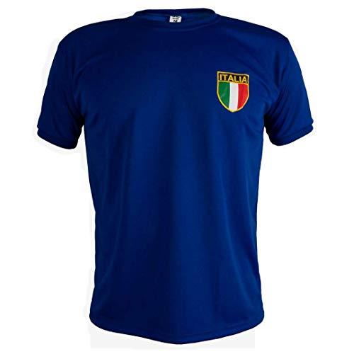 JL Sport Playera de Manga Corta para Hombre, diseño Retro de Italia, Azul, Large
