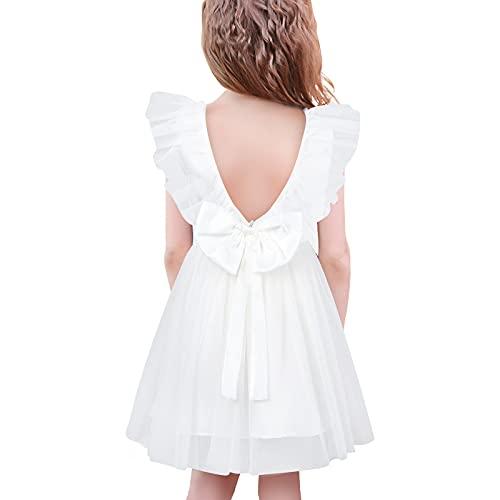 SFreeBo Vestito Cerimonia Bambina Bianco Vestiti Bambina Elegante Damigella Estivo Senza Maniche Backless Abito da Battesimo 5-6 Anni