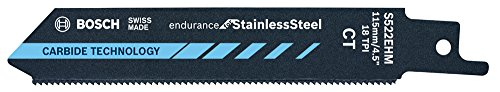 Bosch Professional Lame de scie sabre S 522 EHM Endurance for Stainless Steel (pour l'acier inoxydable, 115 x 19 x 1 mm, Accessoires scie alternative)