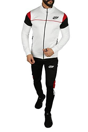 Yarin Herren Jogginganzug Trainingsanzug Männer Sportanzug Fitness Fitnessanzug (L, Weiß)