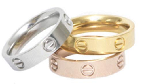 Love Ring - UK Manufactured - High Quality 18ct Plating onto Titanium Non Tarnish Unisex (Rose Gold, 6)