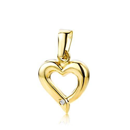 Miore Ciondolo Donna Cuore Diamante taglio brillante Oro Giallo 9 Kt / 375