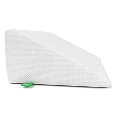 Cushy Form Bed Wedge Pillow with Memory Foam Top - Best for Sleeping, Reading, Rest or Elevation - Breathable and Washable Cover (12 Inch Wedge, White)