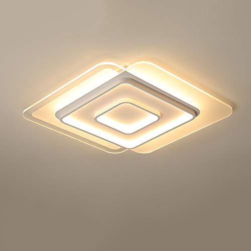 LED Dimmbar Deckenleuchte Modern Quadrat Schlafzimmer Deckenlampe Ultradünne Design Schlafzimmerlampe Metall Wohnzimmer Leuchte 33W Mit Fernbedienung Beleuchtung L40×B40cm Weiß Kunststoff Schirm