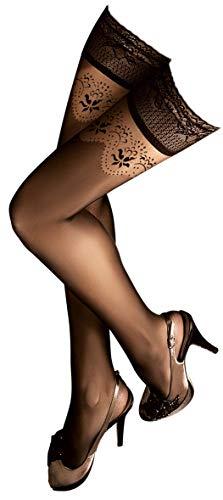 Unbekannt Ballerina Halterlose Strümpfe, schwarz Strapsoptik Größe Small/Medium