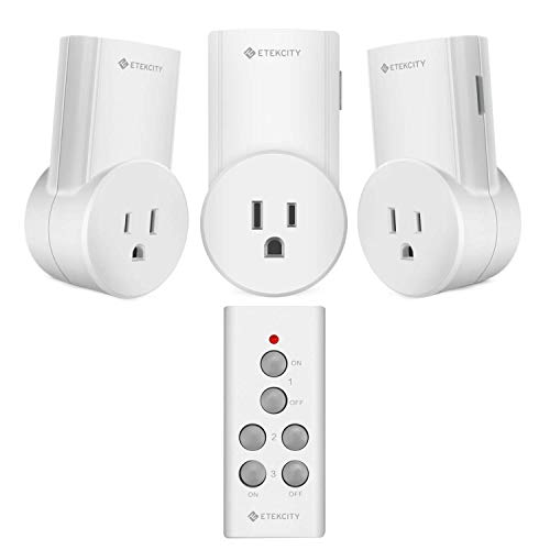 Etekcity Wireless Remote Control Electrical Outlet Switch for Household Appliances,Wireless Remote Light Switch, White (3Rx-1Tx)