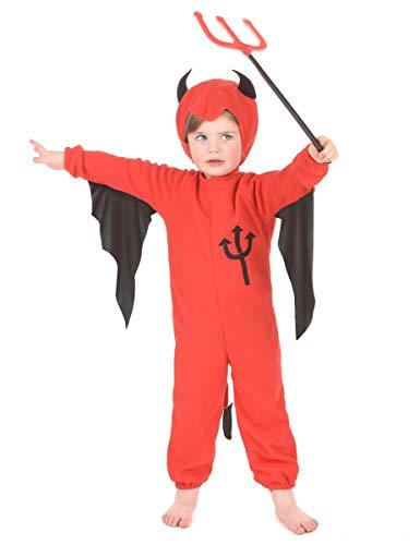 DEGUISE TOI Déguisement Diable Rouge Enfant Halloween - XS 3-4 Ans (92-104 cm)