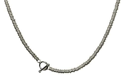 SILBERMOOS Damen Kette aus vielen kleinen Ringen modern schlicht 925 Sterling Silber 42 45 cm, Länge:45 cm