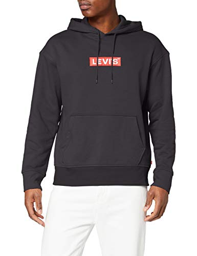 Levi's Relaxed Graphic Hoodie Felpa, Black (Boxtab Pop Mineral Black 0023), X-Small Uomo