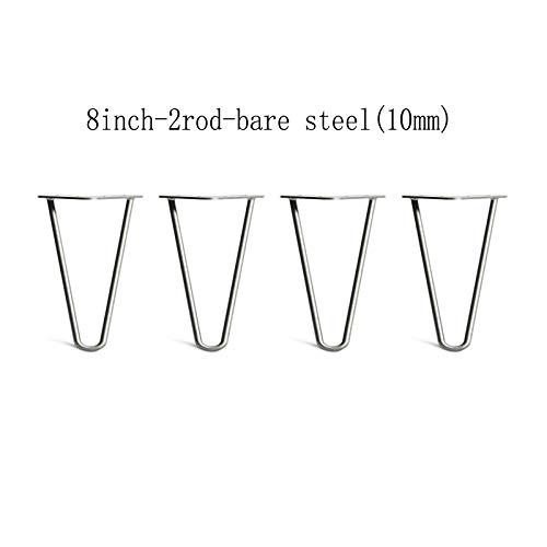 4 Stks Haarspeld Tafelpoten met Gratis Schroef & Beschermer Voeten Stabiel Standaard Tafelhoogte 2 Stang 10mm Staal 8 Inch Ruw staal
