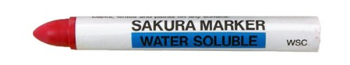 Sakura Industrial Water Soluble Crayon Marker, 5/8' Diameter x 5' Length, 14 to 122 Degrees F, Red (Box of 10)