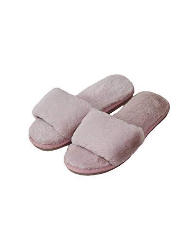RAIKOU Hausschuhe Damen Plüsch Pantoffeln Rutschfester Warm Indoor Slippers Hause Schuhe, weiche Hausschuhe, Bequeme Schlappen, Kunstpelz Flache Gemütliche Hausschuhe (Rosa, Numeric_35)