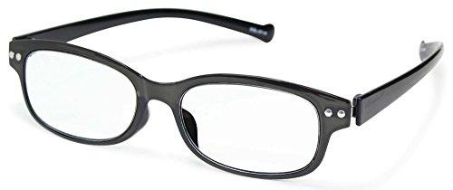 藤田光学 老眼鏡 メンズ 3.5 度数 アイスレンダー 弾性樹脂フレーム ブラック ESL-01-N+3.50