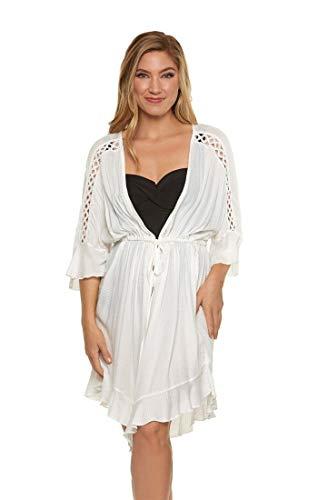 Dotti Women's Wovens Cutout Tie-Front Kimono Swim Cover Up White L
