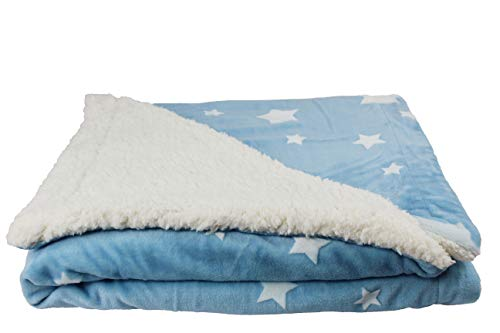 Manta para Bebe, Manta para Cuna estrellas con Borreguito (Azul)