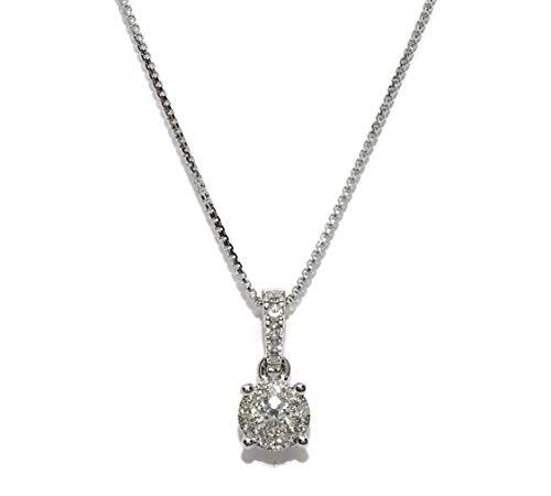 Never Say Never Collana con diamanti da 0,17 ct montati in oro bianco 18 kt 4 griffe e catena veneziana da 40 cm anche in oro bianco 18 kt