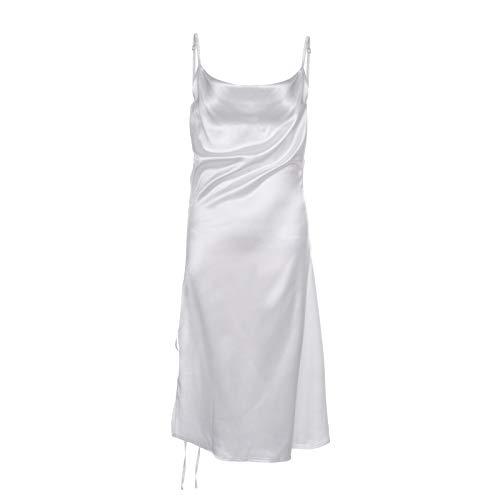 Geagodelia Satinkleid Sommerkleid Damen Kleid V-Ausschnitt Partykleid Damen Spaghetti Träger Kleid Damen Sommer (Weiß A, s)